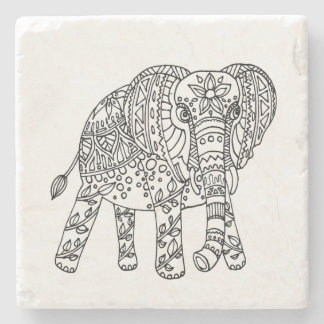 Elephant Doodle Coasters Stone Coaster