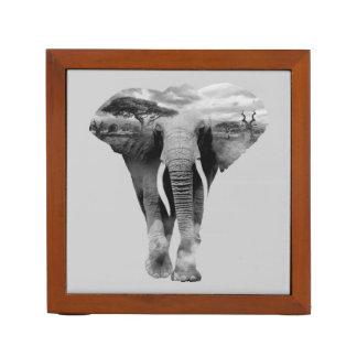 Elephant - double exposure art desk organiser