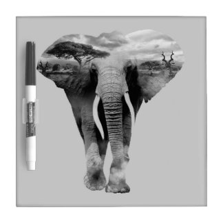 Elephant - double exposure art dry erase board