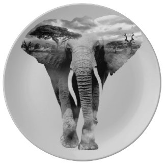 Elephant - double exposure art plate