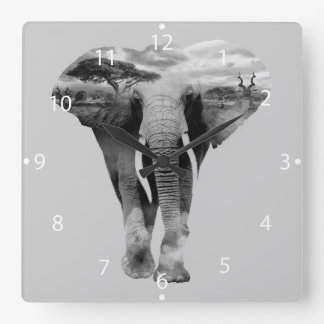 Elephant - double exposure art square wall clock