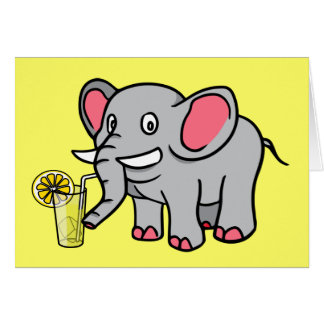 Elephant Drinking Lemonade Support Card