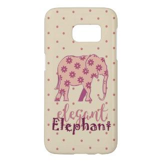 Elephant Elegant Floral Silhouette Polka Dots Pink
