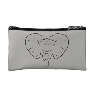 Elephant face silhouette cosmetic bag