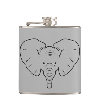 Elephant face silhouette hip flask