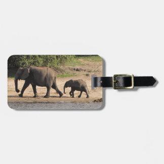Elephant family bag tag