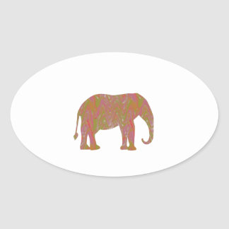 ELEPHANT Fantasy Artistic Color Shade lowprice Oval Sticker