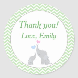 Elephant Favor Label Mint Green Unisex Baby Shower