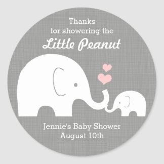 Elephant Favor Tag, Little Peanut Pink Hearts Classic Round Sticker