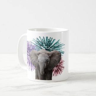 elephant fire work mug
