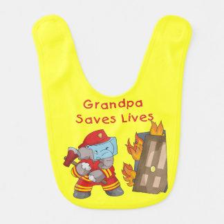 Elephant Firefighter Grandpa Saves Lives Bib