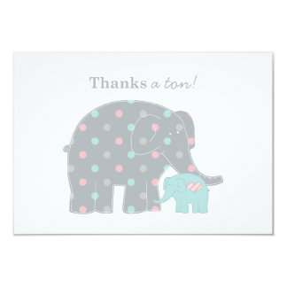 Elephant Flat Thank You Note Card | Pink Blue Gray 9 Cm X 13 Cm Invitation Card