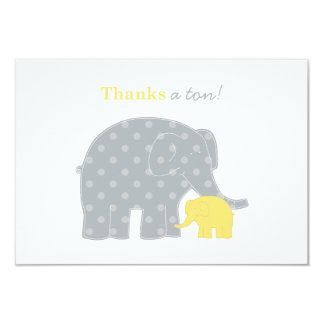 Elephant Flat Thank You Notes   Yellow and Gray 9 Cm X 13 Cm Invitation Card