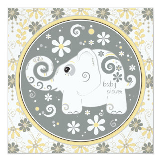elephant floral yellow grey baby shower invitation