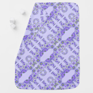 Elephant Flowers Purple Baby Blanket