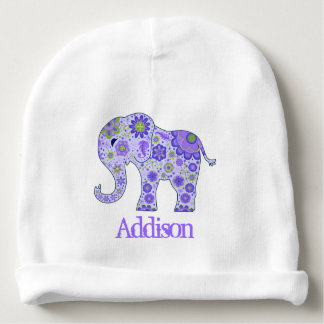 Elephant Flowers Purple Name Template Baby Beanie