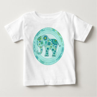 Elephant Flowers Teal Baby T-Shirt