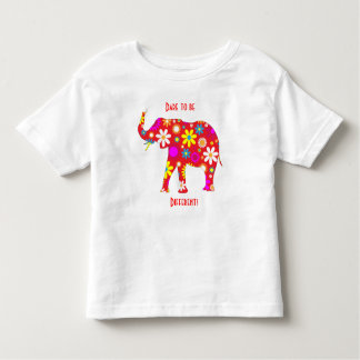 Elephant funky retro floral flower kids t-shirt