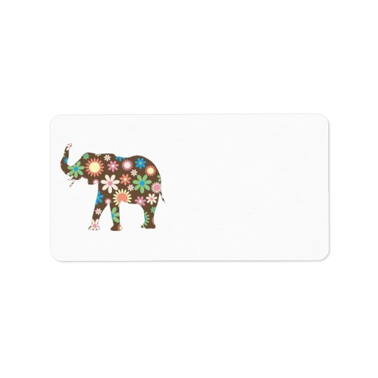 Elephant Funky retro floral flowers address labels