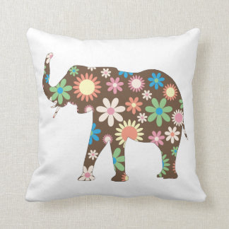 Elephant funky retro floral flowers colorful cute throw cushion