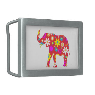 Elephant funky retro floral flowers novelty buckle rectangular belt buckles