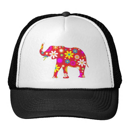 Elephant Funky retro floral flowery flower hat