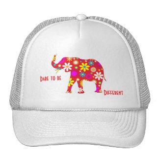 Elephant Funky retro floral flowery flower hat cap
