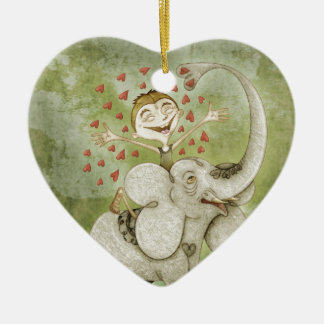 Elephant. Funny, fantastic, to lie down and imagin Ceramic Heart Decoration