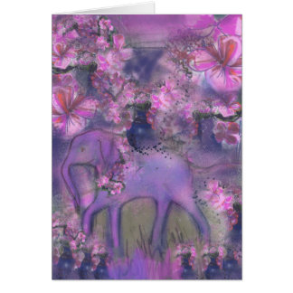 Elephant garlanded with pink flowers card