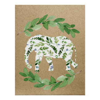Elephant gender neutral or boy's nursery print