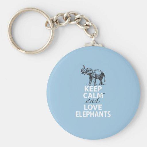 Elephant Gift Keep Calm and Love Elephants Print Key Chains