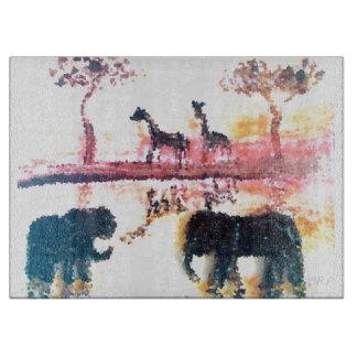 Elephant, Giraffe Safari Sunset Art Cutting Board