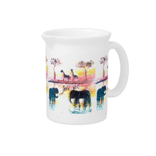 Elephant, Giraffe Safari Sunset Art Pitcher