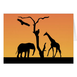 elephant giraffe silhouette greetings card