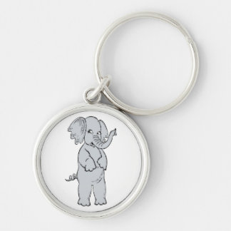 ELEPHANT GIRL Silver-Colored ROUND KEY RING