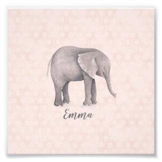 Elephant Girl with Pink Geometric Background Photo Print