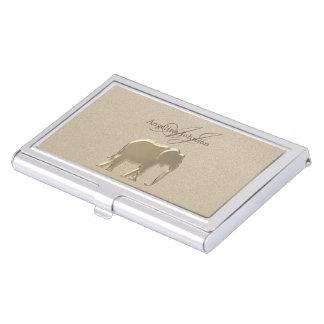 Elephant Golden Elegant Sandstone Classy Stylish Business Card Holder