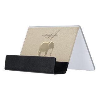 Elephant Golden Elegant Sandstone Classy Stylish Desk Business Card Holder