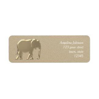 Elephant Golden Silhouette Elegant Glamour Emboss Return Address Label