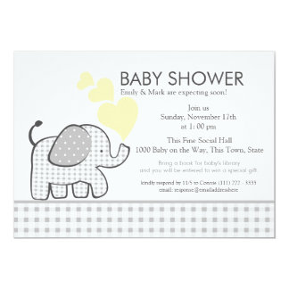 Elephant Gray Gingham Baby Shower 13 Cm X 18 Cm Invitation Card