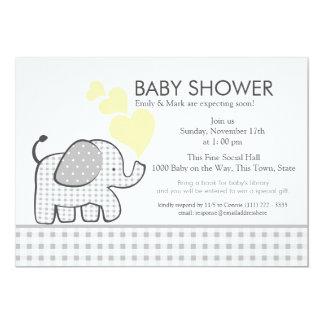 Elephant Gray Gingham Baby Shower 13 Cm X 18 Cm Invitation Card