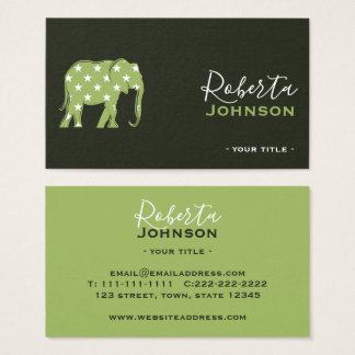 Elephant Green Nature Ecology Animals Pets Stylish Business Card