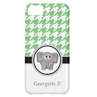 Elephant Green & White Houndstooth iPhone 5 Case