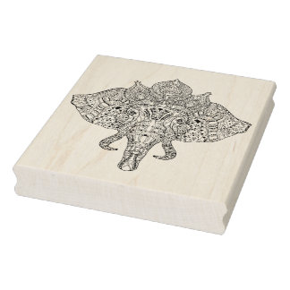 Elephant Head Inspired Doodle Rubber Stamp
