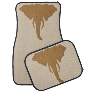 Elephant Head Natural Rustic Brown Safari Chic Car Mat