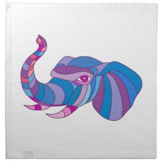 Elephant Head Side Low Polygon Napkin