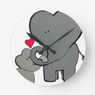 Elephant Hearts - An unforgettable love. Wall Clock