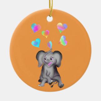 Elephant Hearts by The Happy Juul Company Round Ceramic Decoration