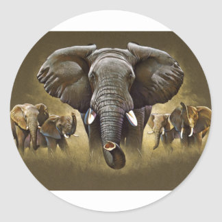 Elephant Herd Charging Classic Round Sticker