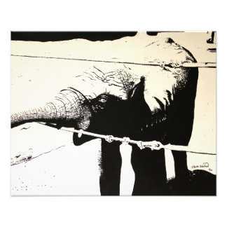 Elephant High Contrast painting Photographic Print